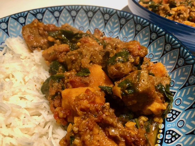 Beef with Sweet Potato & Spinach using Persian Advieh